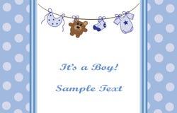 Blue Baby Boy Announcement stock photo