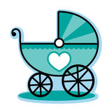 Blue baby boy carriage buggy Royalty Free Stock Image