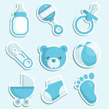 Blue baby boy Icons Stock Images