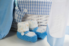 Blue baby boy shoes in children room Stock Photography