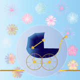 Blue Baby Carriage Royalty Free Stock Photos