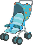 Blue Baby Carriage. Children's blue carriage in a floret Stock Image