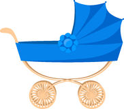 Blue baby-carriage isolated on white Royalty Free Stock Images