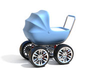 Blue baby carriage with sport car wheels. 3d isolated illustration on white Stock Images