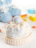 Blue baby clothes Stock Photos