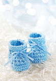 Blue baby crochet shoes Royalty Free Stock Photo