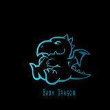 Blue Baby Dragon Stock Image
