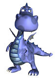 Blue baby dragon thinking about Royalty Free Stock Photos