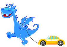 Blue Baby-Dragon with a toy car Stock Photography