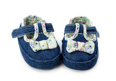 Blue baby girl shoes Stock Photography