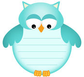 Blue Baby Owl with Label Stock Images