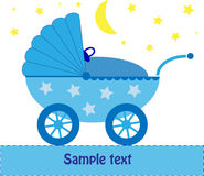 Blue Baby Pram at night. Blue baby pram with moon and stars, great greeting card. It's a vector image Royalty Free Stock Image