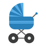 Blue baby pram vector Royalty Free Stock Images