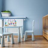 Blue baby room with cot Stock Image