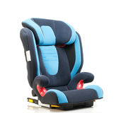 Blue baby's automobile armchair. On white Royalty Free Stock Photo