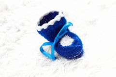 Blue baby shoe Stock Images