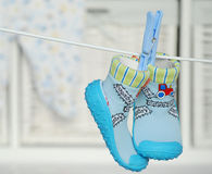 Blue baby shoes Royalty Free Stock Image