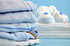 Blue Baby Shoes on Cotton Diapers Royalty Free Stock Images