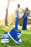 Blue baby shoes on grass. Parents. A pregnant woman. Royalty Free Stock Images