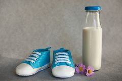 Blue baby shoes and little bottle of milk. With pink flowers on gray background Royalty Free Stock Photo