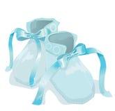 Blue baby shoes on white background. Illustration Stock Photo