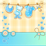 Blue baby shower card Royalty Free Stock Image