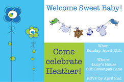 Blue Baby Shower Invite Royalty Free Stock Photo