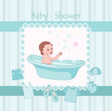 Blue baby shower. With little boy vector illustration