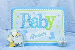 Blue Baby Shower. A blue baby shower sign for the party royalty free stock image