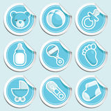 Blue Baby Shower Stickers royalty free illustration