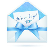 Blue baby shower vector envelop with bow. Blue baby boy shower vector envelop with bow Royalty Free Stock Photo