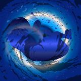 Blue Baby SIlhouette. A dark blue background beneath a fetus silhouette Royalty Free Stock Photo