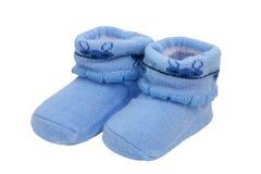 Blue baby socks, on white background Royalty Free Stock Images