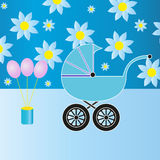 Blue baby stroller Stock Photos