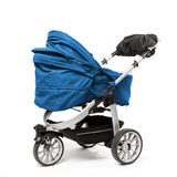 Blue baby stroller on white Royalty Free Stock Images