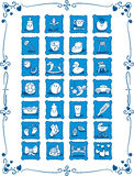 Blue Baby Theme Cartoon Icons Royalty Free Stock Image