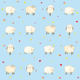 Blue baby wallpaper with sheep. Vector Royalty Free Stock Image