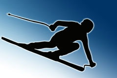 Blue Back Sport Silhouette - Speeding Skier Royalty Free Stock Photos