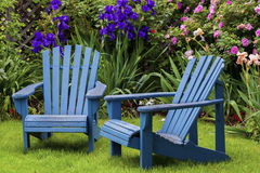 Blue Back Yard Chairs Royalty Free Stock Photography