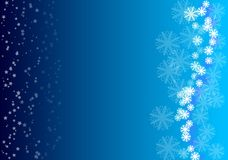 Blue background. With white stars and snowflakes Stock Image