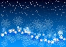 Blue background. Blue christmas background with white snowflakes and stars Royalty Free Stock Image