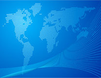 Blue background. With world map Royalty Free Stock Photography