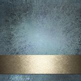 Blue Background. With old grunge texture, graphic art layout design with copy space, and gold ribbon stripe for title or text stock illustration