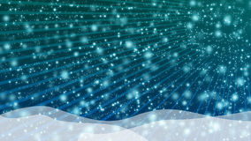 Blue background. Snowy blue background, waves and rays and  snowflakes Stock Photo