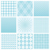 Blue background. Set of blue patterns. wrapping paper Stock Illustration
