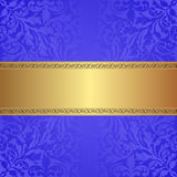 Blue background. Gold and blue background with ornaments Stock Photo