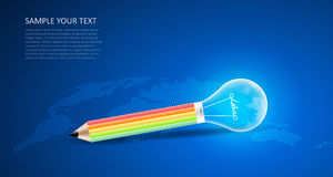 Blue background with abstract pencil lightbulb. Stock Images