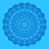 Blue background with abstract round shape. Shape with abstract concentric pattern on blue background Royalty Free Stock Photography