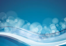 Blue background. Blue abstract background with wave and bubbles Stock Image