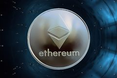 Gold coin in accelerator crypto currency ethereum. On a blue background in accelerator is gold coin of a virtual digital crypto currency - ethereum for business stock image